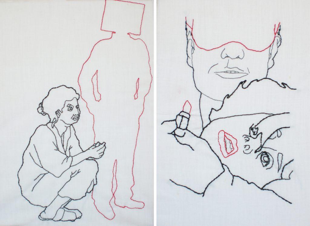 Serie de dibujos cosidos sobre Violencia de Género. Cristina Geneiro (Puralinea)